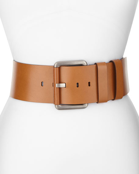Michael Kors Collection Wide Leather Hip Belt, Luggage