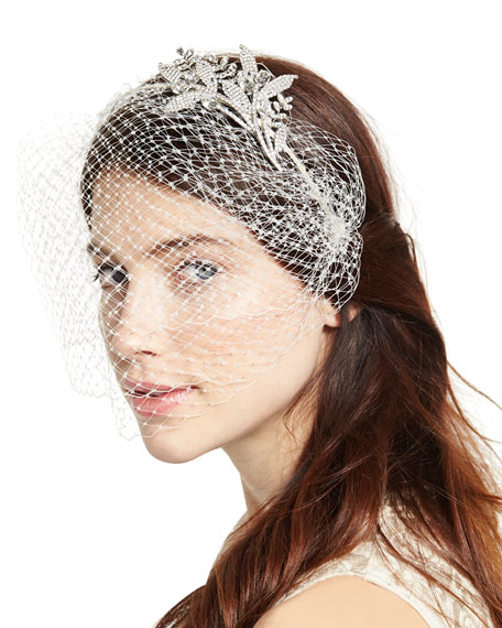 Jennifer Behr Isabelle Voilette Headband with Veil, Cream