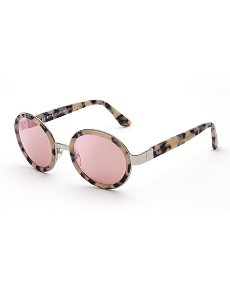 Super by Retrosuperfuture Santa Gel Round Sunglasses, Cream