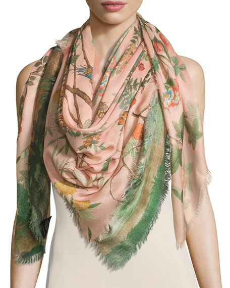 Tree of Life Wool & Silk Shawl, Rose