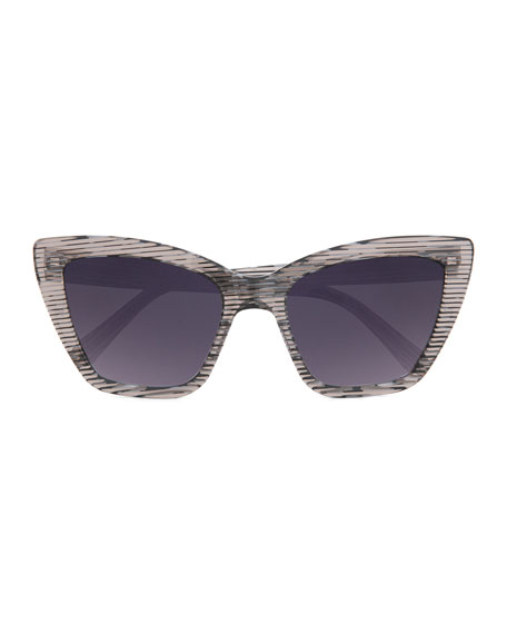 Calvi Streaked Cat-Eye Sunglasses, Black/White