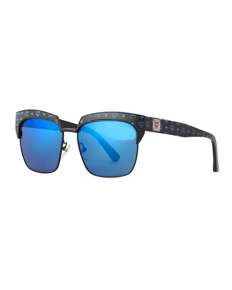 MCMPrinted Square Mirrored Sunglasses, Black/Blue