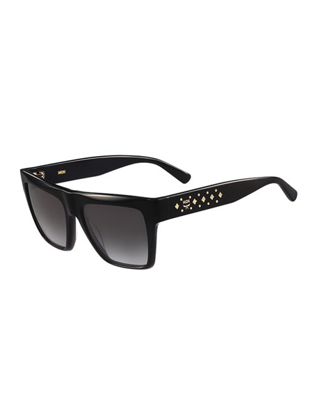 MCM Studded Square Plastic Sunglasses, Black