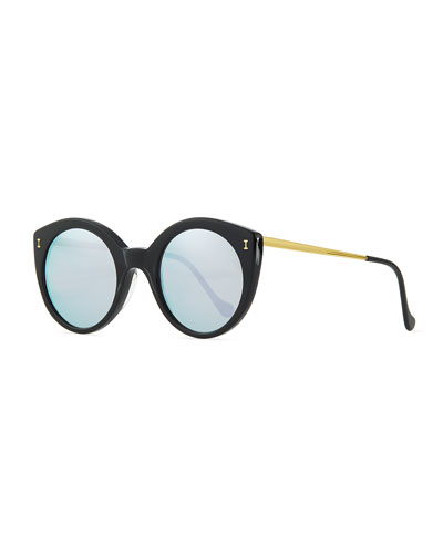 Illesteva Palm Beach Mirrored Sunglasses, Black/Silver