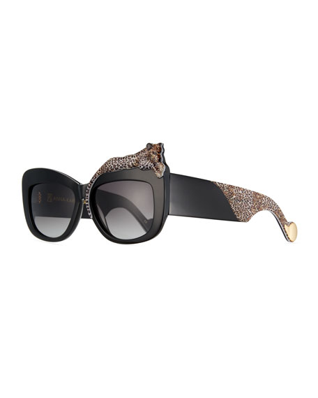 Rose et la Mer Square Sunglasses, Black