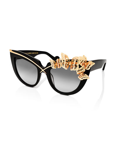 Lusciousness and Wings Cat-Eye Sunglasses, Black