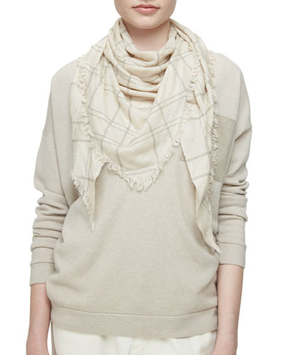 Cashmere/Silk Triangle Scarf with Monili, Desert