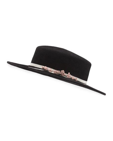 Brigitte Felt Boater Hat, Black