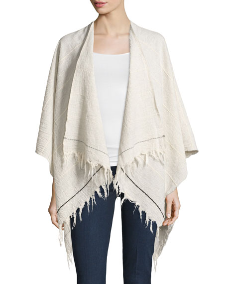 Rag & BoneSummer Stripe Cotton Open-Front Poncho, Light