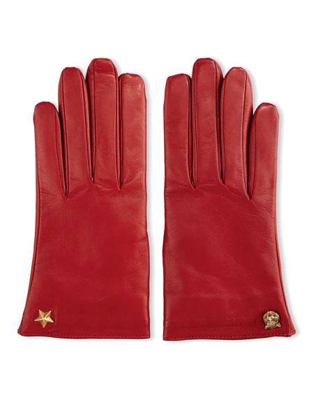 Leather Tiger-Trim Gloves