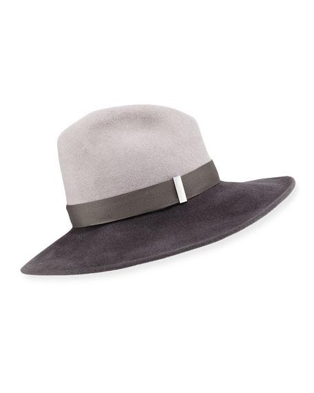 Drake Wool Wide-Brim Fedora Hat, Silver