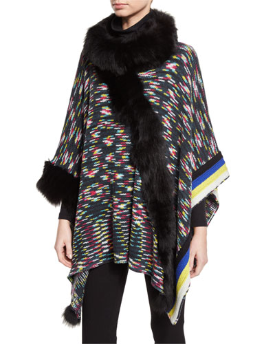 Wool Poncho w/ Fur Trim, Black/Multicolor