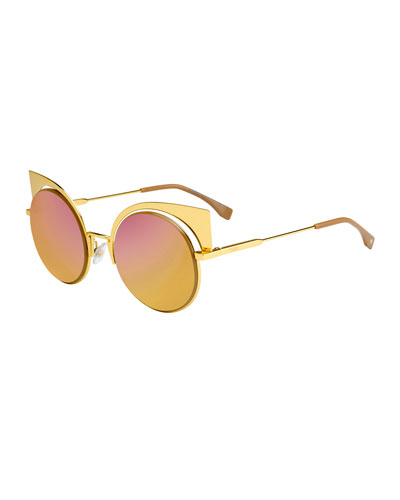 Runway Mirrored Cutout Sunglasses, Gold
