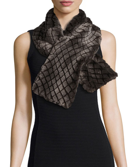 Croft Quilted Shearling Fur Scarf, Chocolate