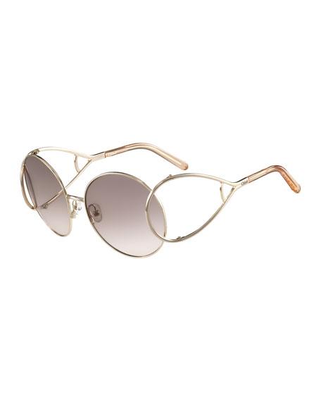 Chloe Jackson Oversized Round Metal Sunglasses, Peach/Gold