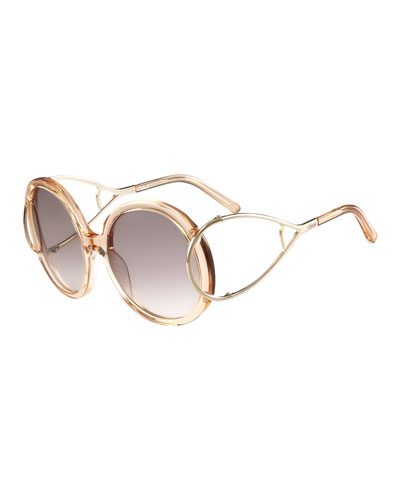 Jackson Round Oversized Sunglasses, Peach
