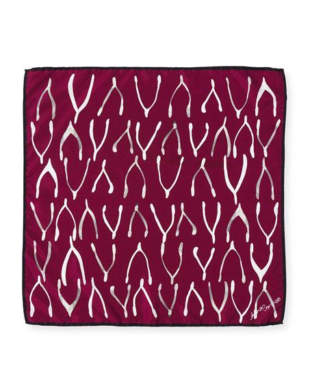 Silk Square Wishbone Mini Scarf, Red