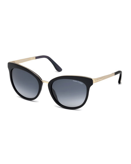 Emma Gradient Frame Cateye Glasses : TOM FORD Emma Gradient Cat-Eye Sunglasses, Black