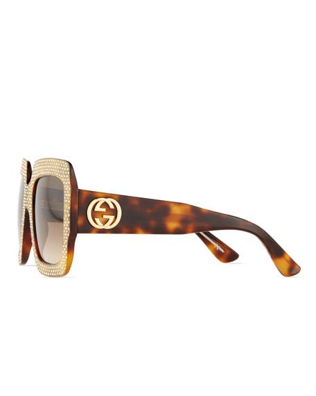 Gucci Crystal-Trim Square Gradient Sunglasses, Havana
