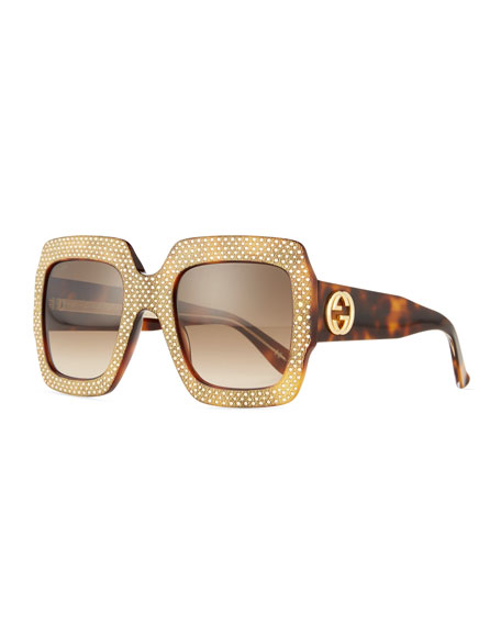d43931504 Gucci Crystal-Trim Square Gradient Sunglasses, Havana