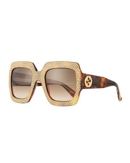 Crystal-Trim Square Gradient Sunglasses, Havana