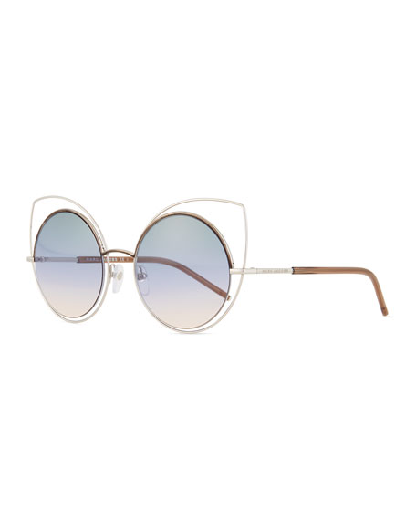 Marc Jacobs Exaggerated Metal Cat-Eye Sunglasses, Silver/Blue