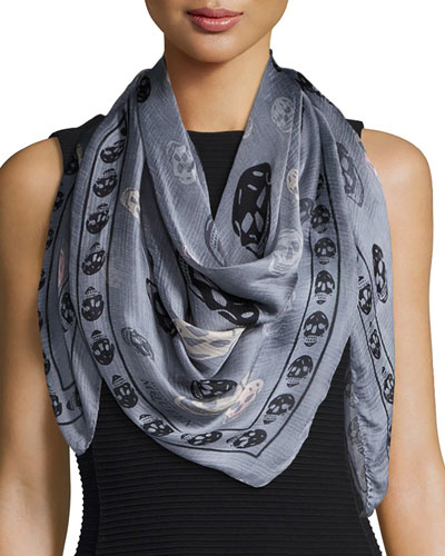 Silk Mixed Skull Foulard Scarf, Gray/Black