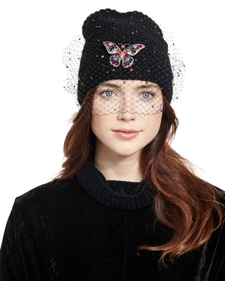 Mariposa Voilette Cashmere Beanie Hat, Black