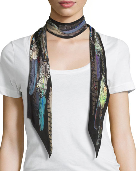 Rockins Feathers Super Skinny Silk Scarf, Black