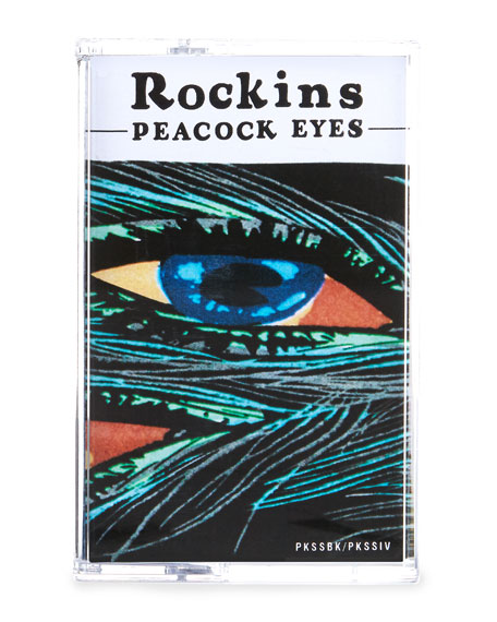 Peacock Eyes Super Skinny Silk Scarf, Black