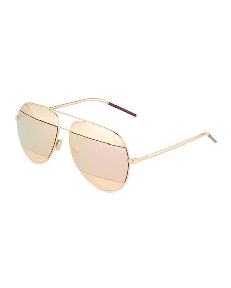 DiorSplit Two-Tone Metallic Aviator Sunglasses, Light Pink/Rose Golden