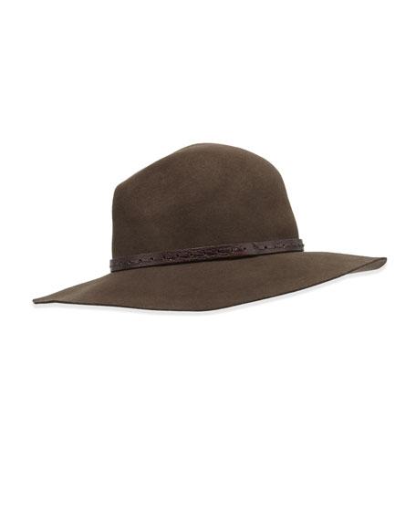Wide-Brim Wool Felt Fedora Hat, Brown