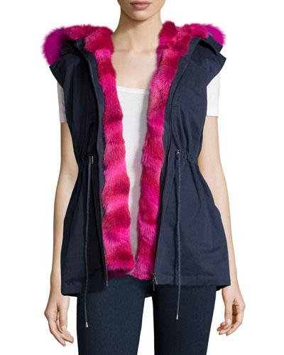 Twill Fur-Trim Drawstring Vest, Navy/Fuchsia