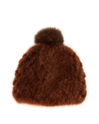 Mink Fur Beanie Hat, Brown
