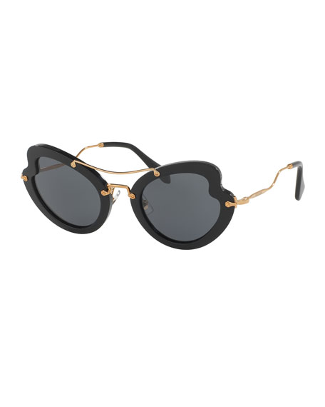Miu Miu Waved Trimmed Monochromatic Sunglasses, Black