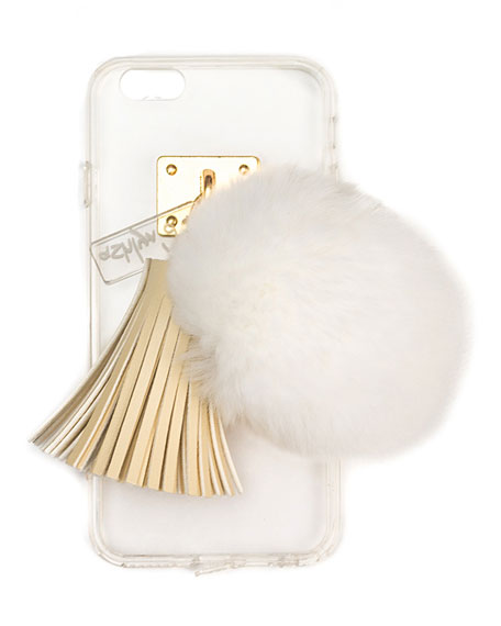 ashlyn'd Transparent iPhone 6 Case w/ Fur Pompom,