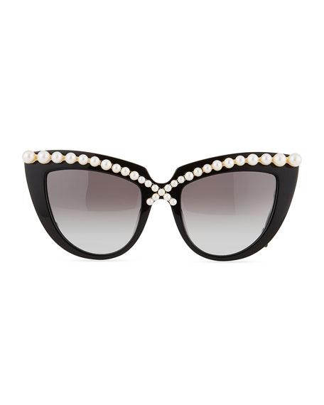 Anna-Karin Karlsson Pearl-Studded Cat-Eye Sunglasses, Black