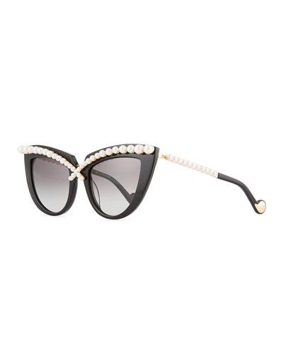 Pearl-Studded Cat-Eye Sunglasses, Black