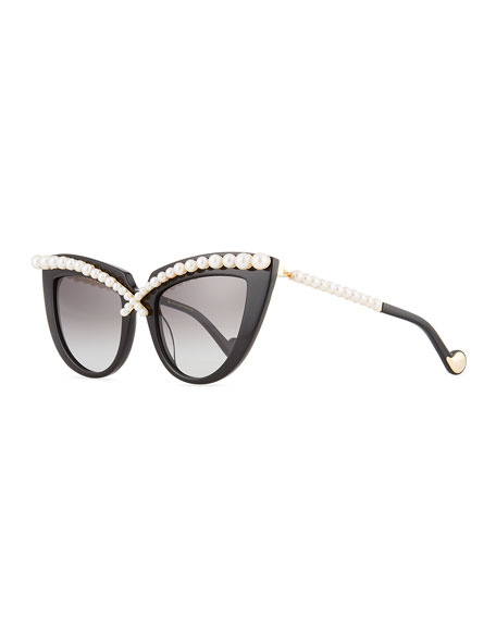 Pearl-Studded Cat-Eye Sunglasses, Black