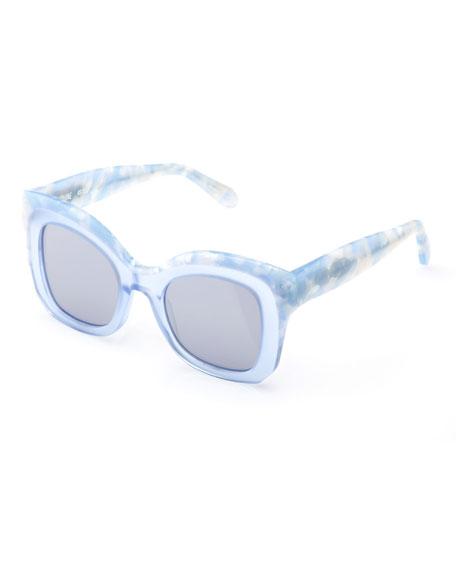 KREWE Dauphine Mirrored Flat-Lens Sunglasses, Blue