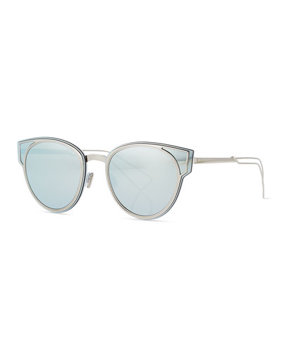 Sculpt Cat-Eye Sunglasses, Silver