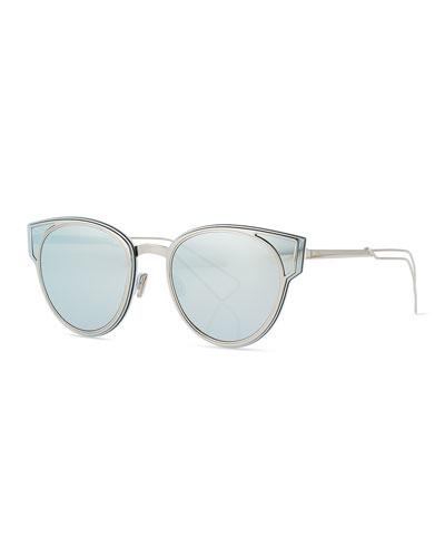 Sculpt Cat-Eye Sunglasses, Silver