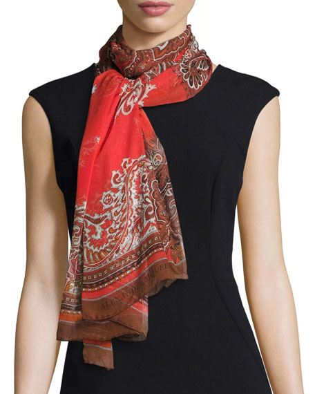 Silk Chiffon Paisley Patchwork Scarf, Red