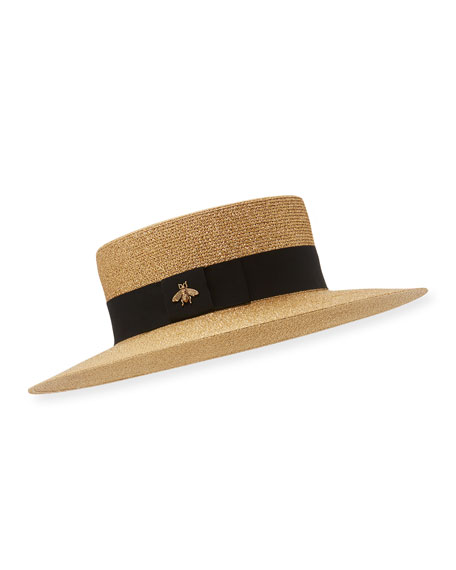Image 1 of 1: Bee Boater Hat, Tan/Black