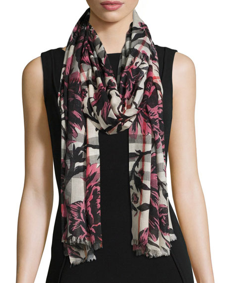 Burberry Check & Floral Gauze Scarf, Rose