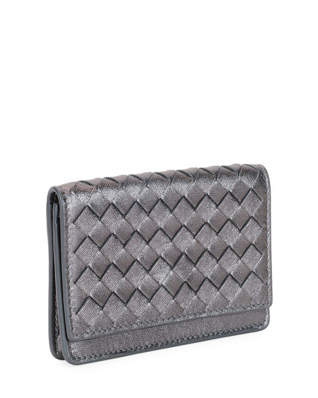 Intrecciato Woven Leather Card Case