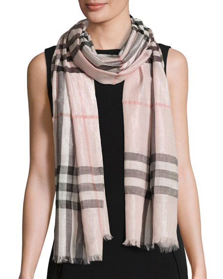 Burberry Metallic Gauze Giant Check Scarf, Rose