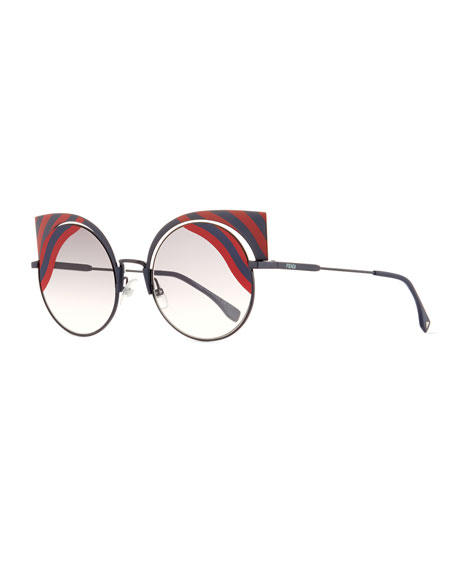 Hypnoshine Striped Cutout Sunglasses