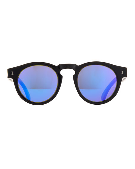 Leonard Monochromatic Round Two-Tone Sunglasses
