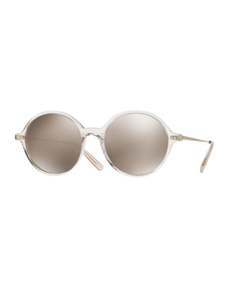 Oliver Peoples Corby Round Mirrored Sunglasses, Sand